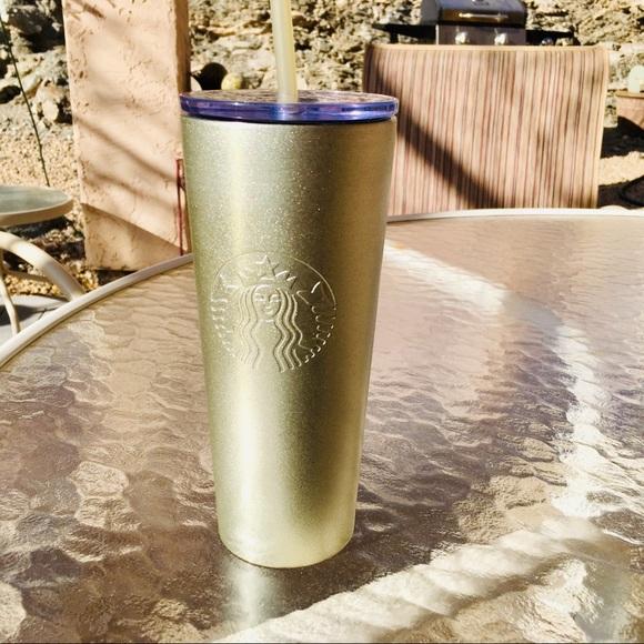 Starbucks 2019 Gold Glitter Sparkle Tumbler Metal